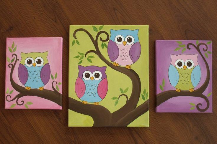 Cute owl canvas paint idea for wall decor cute birds on tree branch canvas painting wall art - Cute wall decor ideas ...