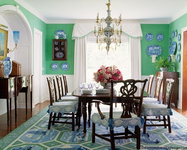 Green Blue Dining Room Dining Spaces Pinterest