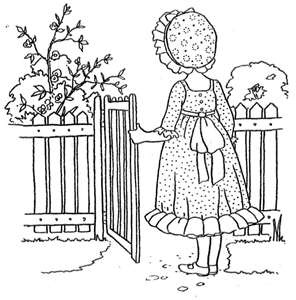 Vintage coloring book pages. Holly Hobbie.