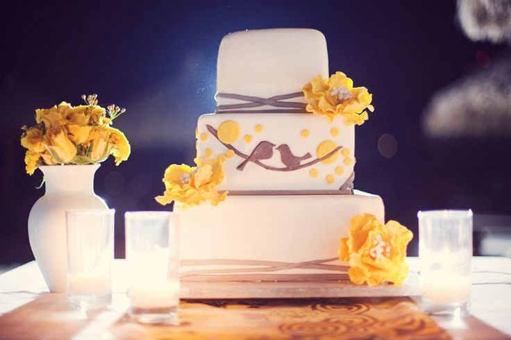 love birds wedding cake gray and yellow wedding pinterest