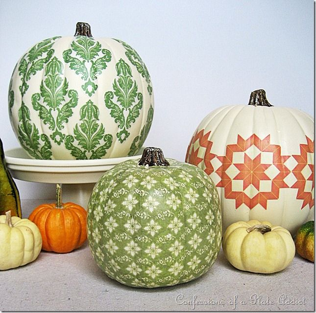 Mod podge pumpkins, really neat, decor that will take you throughout the entire fall!