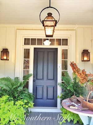 front porch lights and hanging lantern for the home