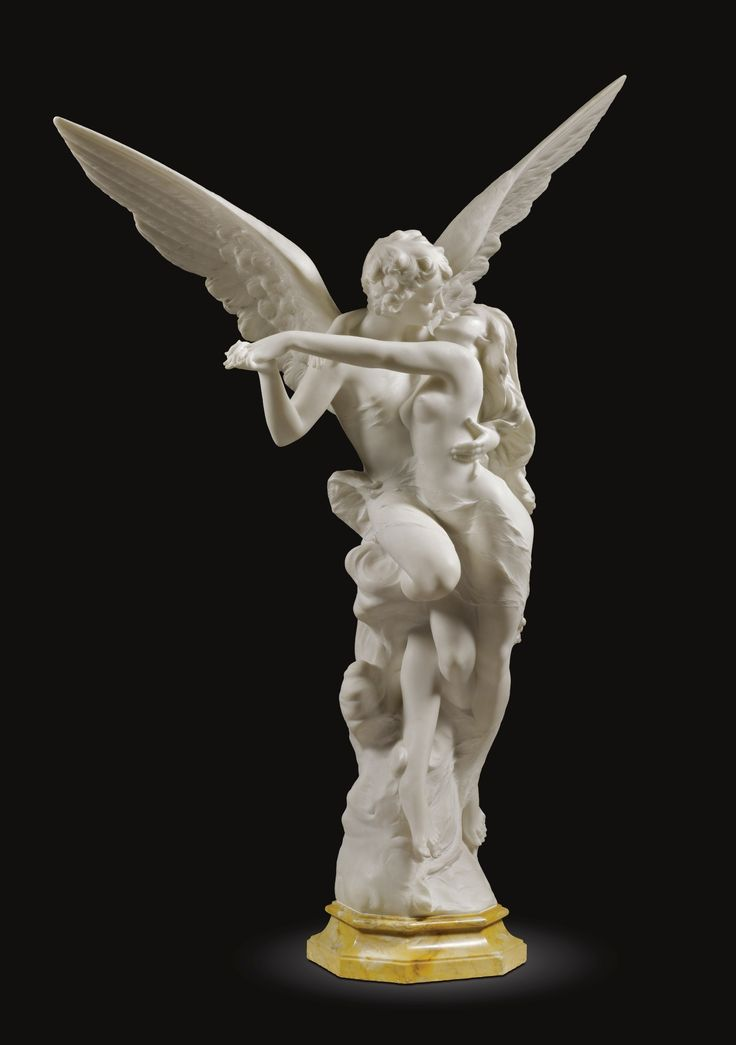 Italian, circa 1900 –   CUPID AND PSYCHE –  white marble on a veined yellow marble base –  128.5cm