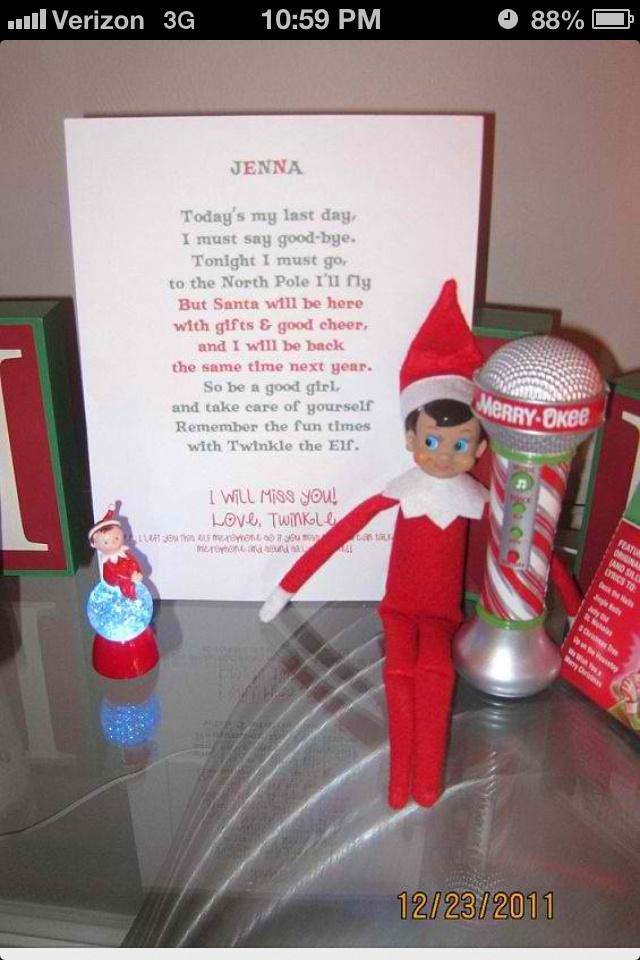 Elf on the shelf says goodbye christmas time pinterest