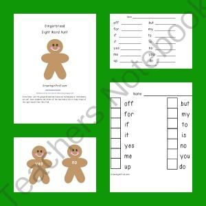 Gingerbread Man Sight Word Hunt from Growing in Pre K on ...