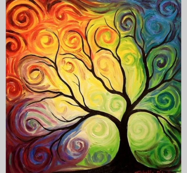 pretty colorful tree! | Art | Pinterest