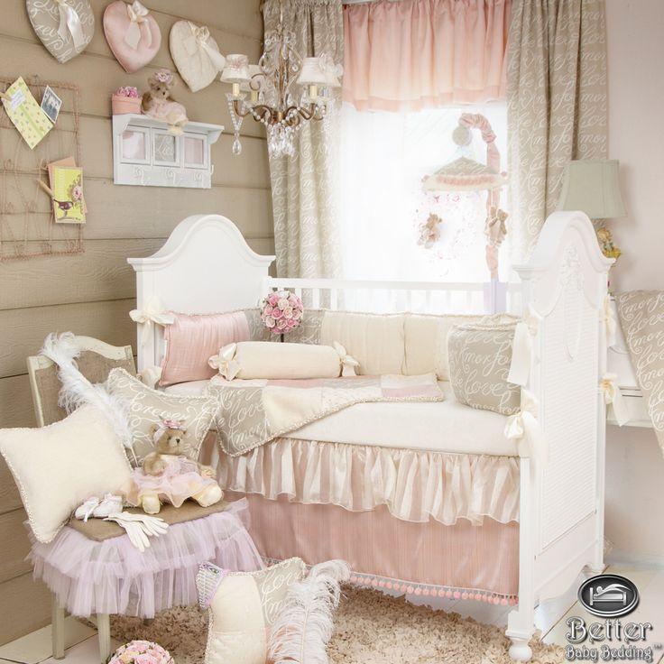 ... Baby Girl Pink Beige Shabby Chic Crib Nursery Best Quilt Bedding Set