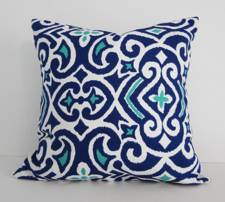 Royal Blue And White Throw Pillows : Decorative Pillow Cover, Royal Blue and Turquoise Cushion Cover, 18 x?