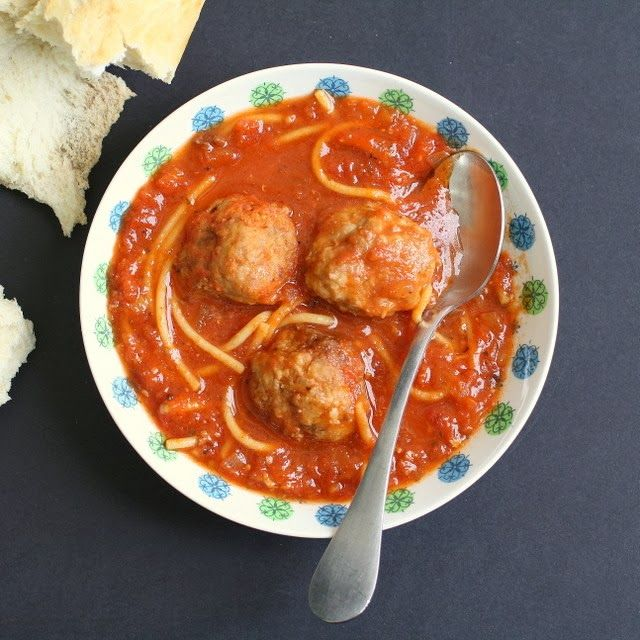 Meatball and Spaghetti Soup. Kids love it this way!
