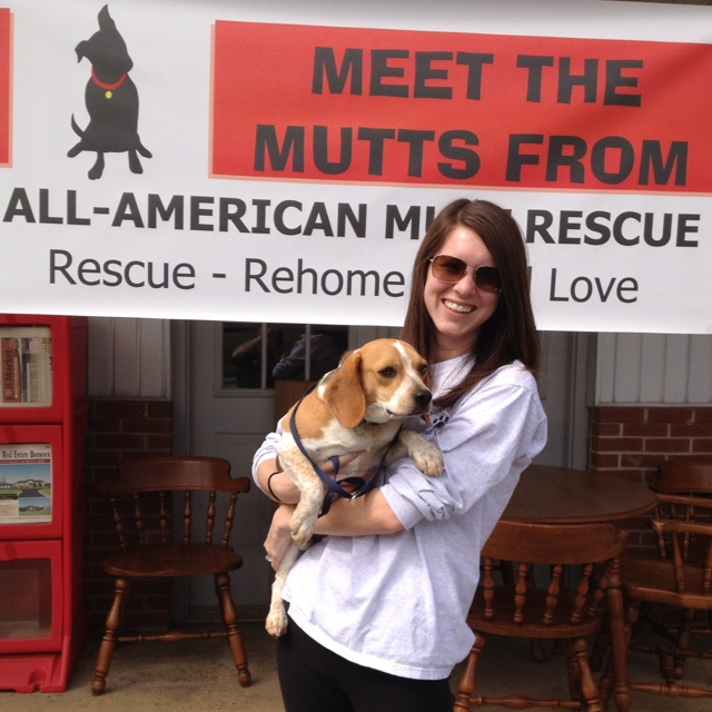 "@Katie Parker volunteered at Lucky Dog Day which was an adoption event for a local dog rescue, All American Mutt Rescue. This is a picture of me with Bucky, who is a wonderful beagle looking for a family to adopt him. This non-profit organization was founded and is operated by a couple who have dedicated their lives to helping dogs find their forever homes.  They keep all of the dogs at their home making sure they are loved and cared for until they are adopted. Their motto is ""Rescue...rehome..."