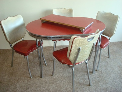Antique 1950s Retro Chrome Formica Vinyl Dinette Set
