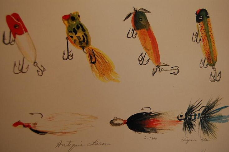 Antique fishing lures painting antique fishing lures fine art print
