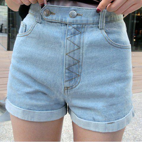 Hemming denim solid color modern style women s shorts light blue s