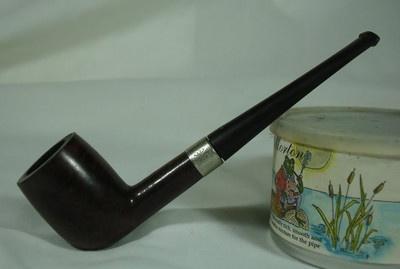 Silver King Billiard Algerian Briar Tobacco Pipe Hallmark Sterling Silver Band