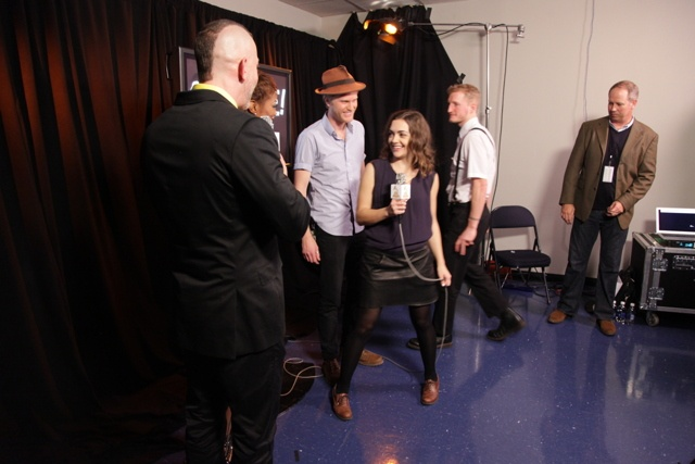 Two-time GRAMMY nominees The Lumineers backstage at the GRAMMY Nominations Concert Live!!