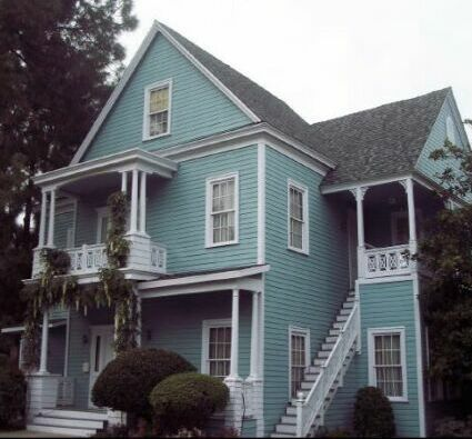Blue House Black Shingles White Trim Our Home In The