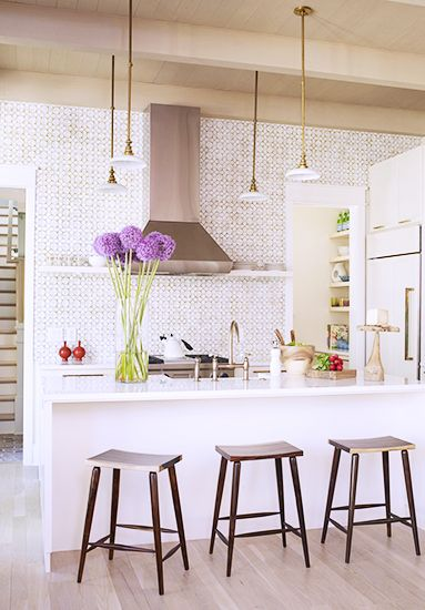 Beautiful Ann Sacks tiled kitchen wall // kitchen design