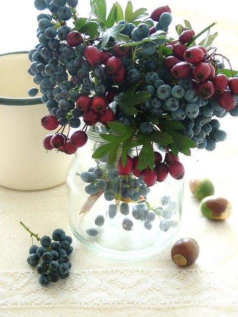 yum a vase of berry branches.. nice.