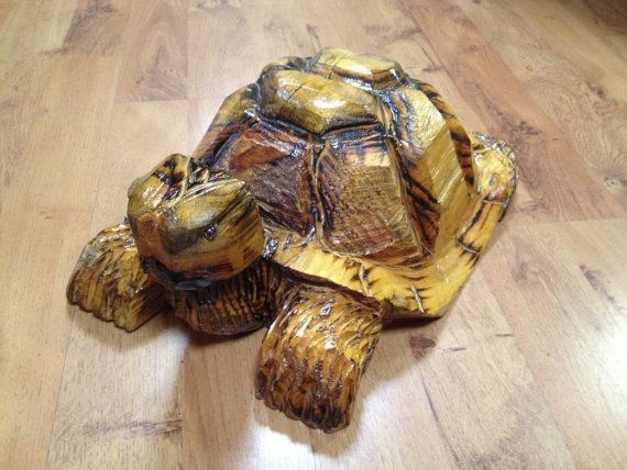 Chainsaw carving turtle wood sculpture