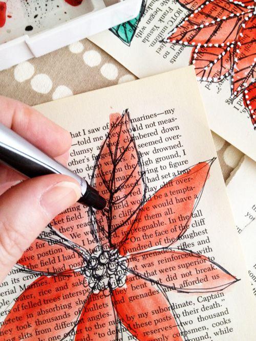 Watercolors + ink + book