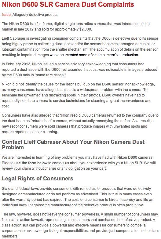 Nikon D600 Sensor Spots