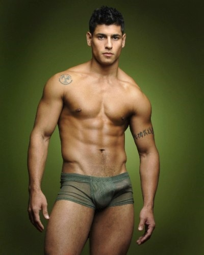 Shirtless hunk wearing army green sheer briefs and it hangs to the ...