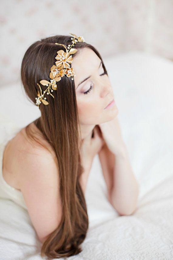 headband, Ribbon Headband, Wedding Hair Accessories, Crystal Headband