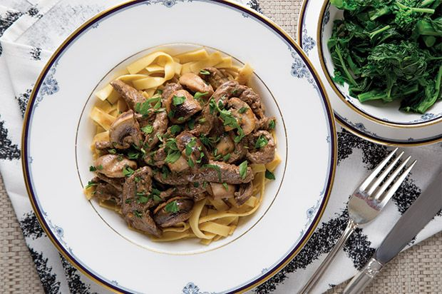 Beef Stroganoff with Buttered Egg Noodles and Garlic Rapini