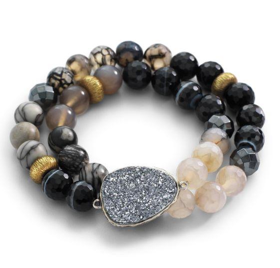 Glisten Up! Ode to Geode Stretch Bracelet #Silpada #druzy