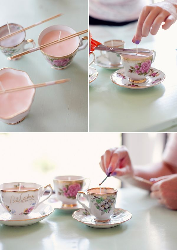 diy teacup candles Supplies. You will need the following:  • vintage tea cups, any will do  • eco friendly candle wax flakes  • wooden kabob skewer sticks  • scotch tape and sharp scissors  • a stove, a double boiler and bowl  • oven mitts and a hot plate/trivet