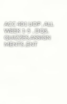 acc 401 week 1 assignment