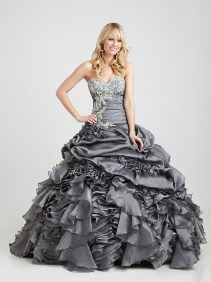 Fabulous full skirted grey ball gown from Allure Prom, style Q342.