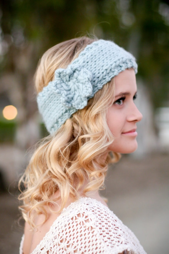 Headband Head Wrap Knitting Pattern : Flower Child Knitted Head Wrap or Warmer Headband knitting ...