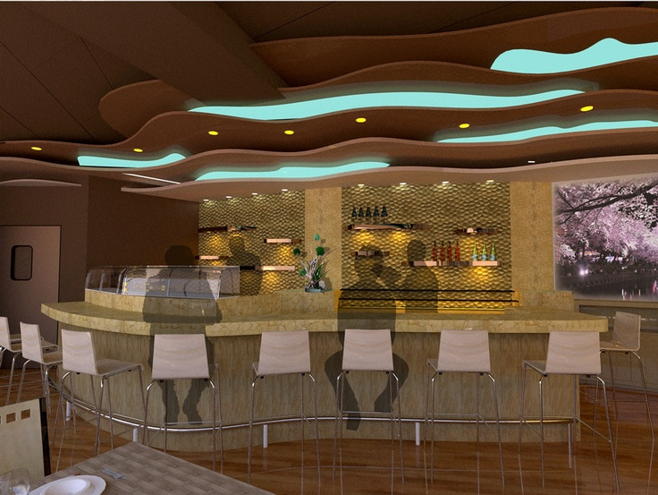 Contemporary sushi bar counter chicago interior design portfolio - Contemporary bar counter design ...