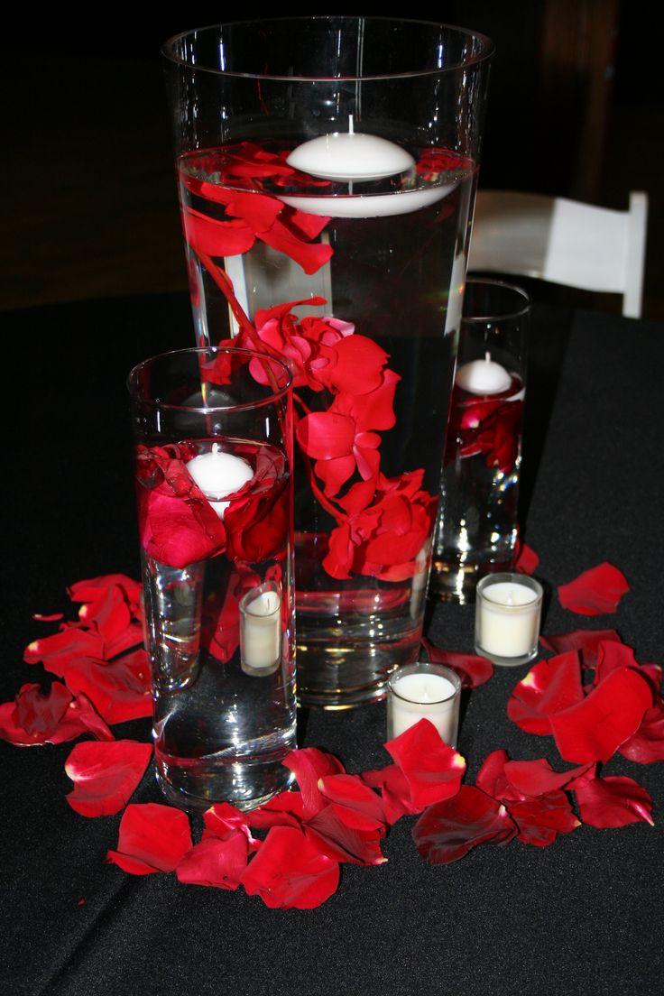 Red orchid submerged centerpiece secret wedding board