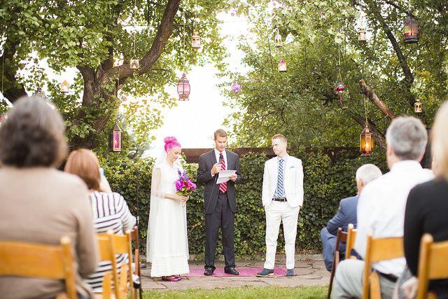 Family Backyard Wedding : Lenore & Daniels Mormon, blended family, backyard wedding