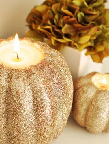 DIY Gold Glitter Pumpkin Candleholders