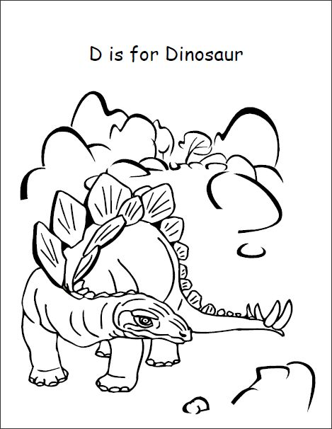 d is for dinosaur coloring pages - photo #5