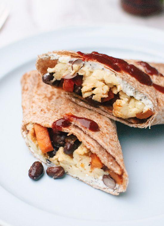 Healthy freezer breakfast burritos with sweet potato hash, black beans ...