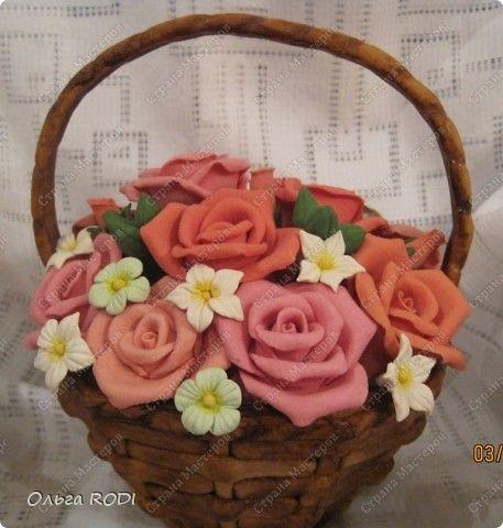 Из соленого тесто поделки корзина с цветами