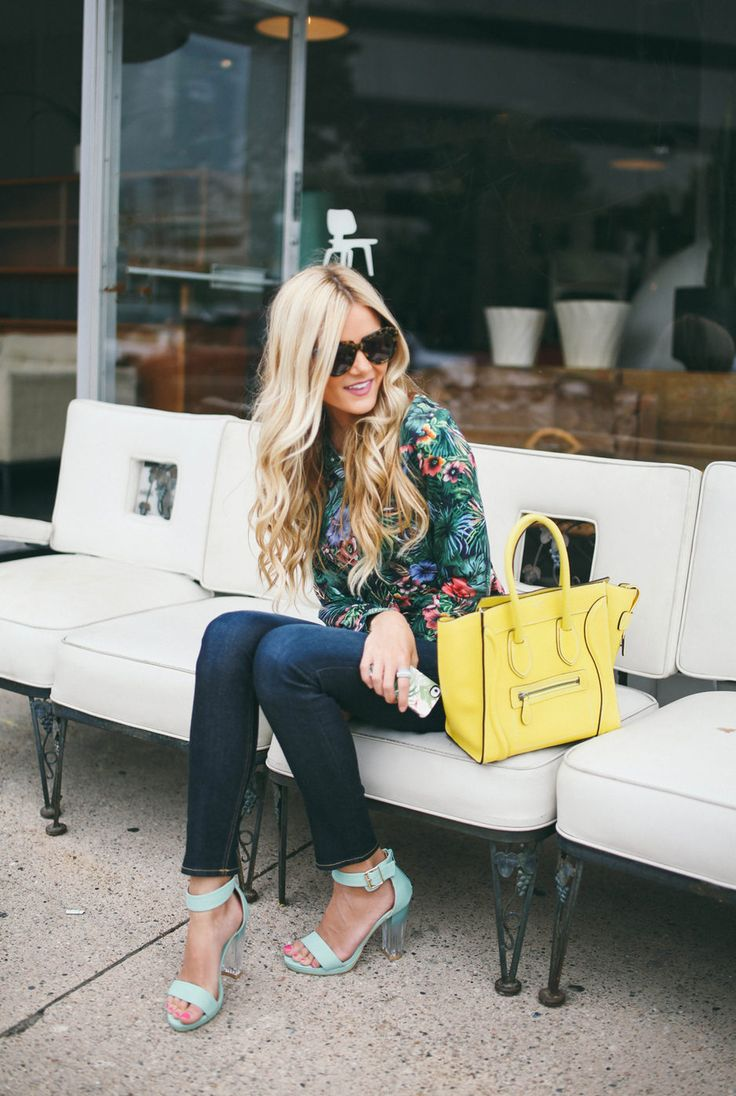 Tropical Top + Mint Heels  #Shirts & Blouses #Leather #Totes #Denim #Jeans