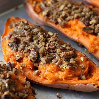 Twice-Baked Sweet Potato (Yam) Recipe with Chipotle Pecan Streusel ...