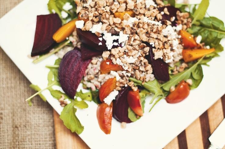 Roasted Beet & Barley Salad with creamy Lemon Vanilla Dressing...sound ...