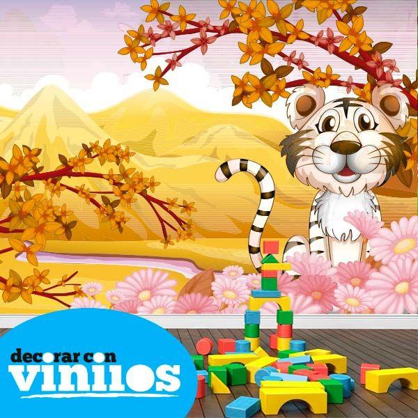 Foto mural infantil en vinilo decorativo de un tigre for Fotomurales infantiles