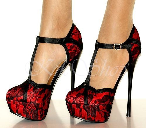 RED BLACK LACE HIGH HEEL PLATFORM SHOES | Deals On Heels