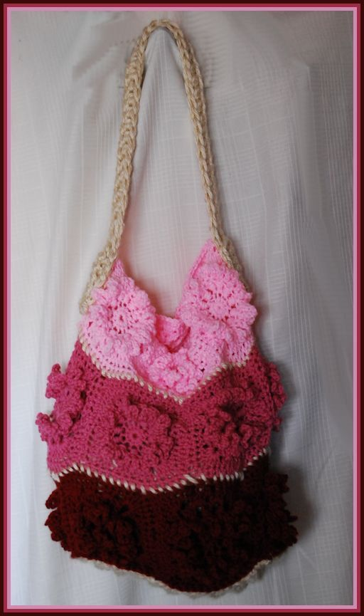 Crochet Bags And Totes : Crocheted Floral Tri Pink Tote, Purse, Yarn Bag