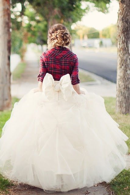 Love the hair and the plaid jacket with the wedding dress!