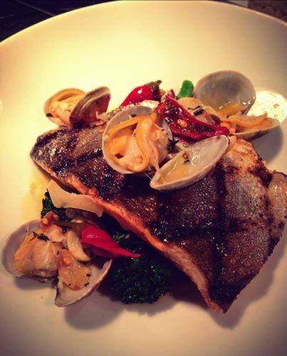 ... rapini, garlic, Calabrian peppers, Manila clams, Meyer lemon broth