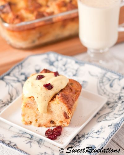 Panettone Bread Pudding with eggnog and cranberries