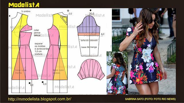 Modelagem de vestido com recorte princesa da Sabrina Sato. ModelistA: RECORTE PRINCESA
